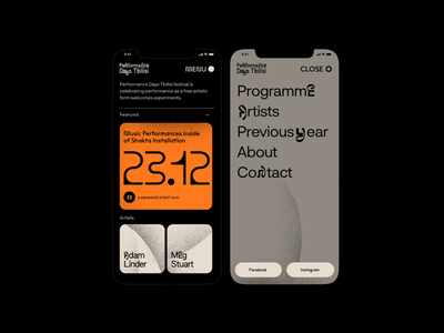 Performance Days Tbilisi - Mobile screens contemporary art music festival mobile web web design ui minimalistic