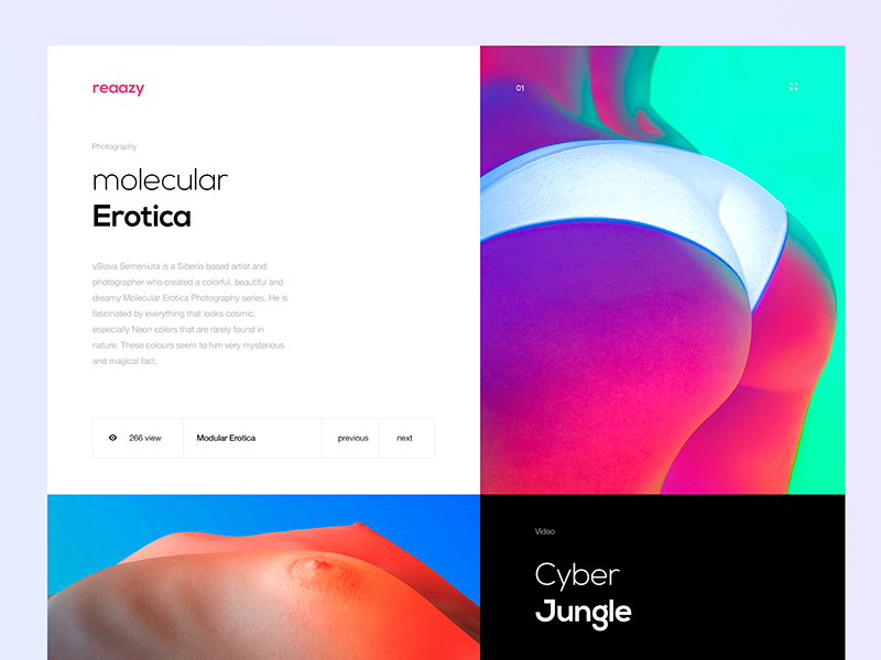 reazzy Inner Page concept nude blue gradient abstract animation web type ux app ui design logo