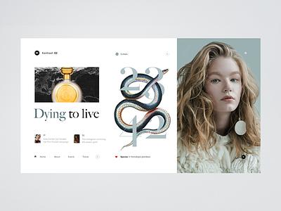 Kontrast : 02 article fashion editorial thumbnails design girl white minimalistic