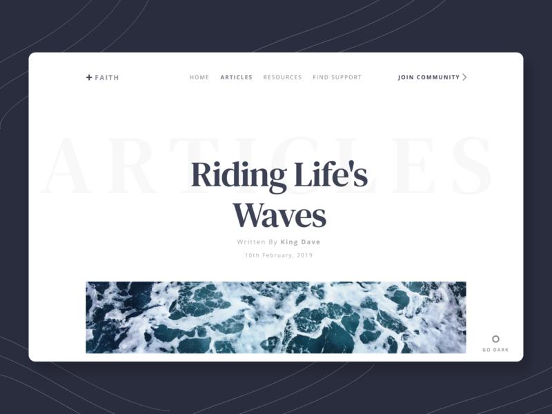 +Faith: Faith-Based Blog UI Concept christian ui design community dark mode waves website design blog design faith