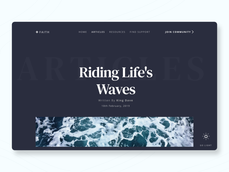 +Faith: Faith-based Blog UI concept website design invision studio toggle button blog christian ui design dark mode