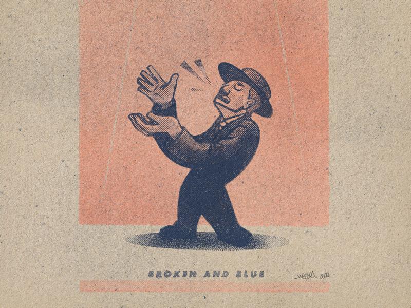 BROKEN & BLUE halftone character print vintage minimal illustration