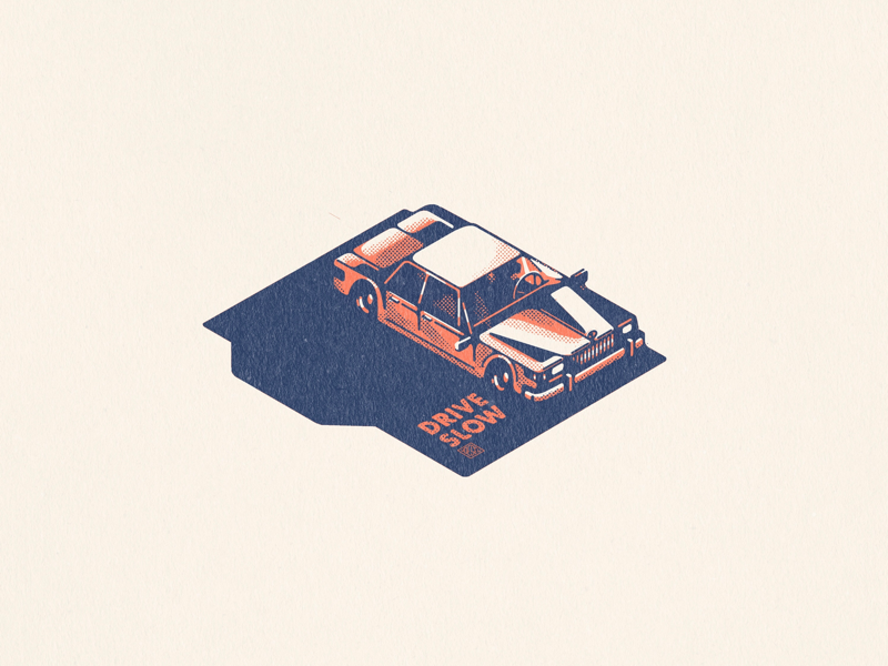 Drive Slow minimal retro vintage isometric illustration