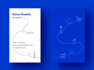 Prague Tour Guide Business Card dribbble hello brand identity blue colours prague sightseeing illustration business card