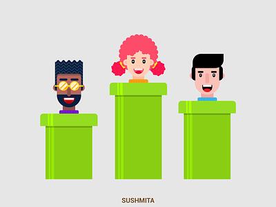 Flat Design Characters flat  design vectorart faces supermario character vector illustration