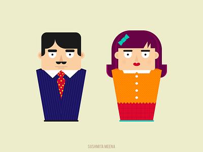 Flat Design Illustrations flat design cartoon texture digital illustration design dolls faces vector art illustraion female male character