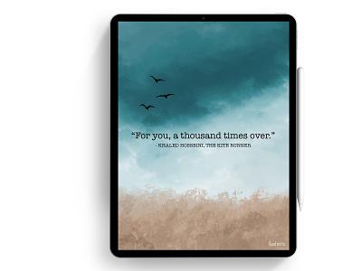 The Kite Runner book cover design kite fields quote sky landscape procreate design illustration