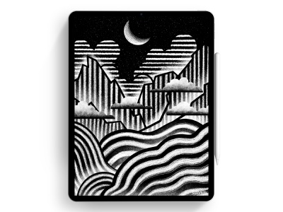White Night moon mountains river landscape illustration artwork procreate sketch grain texture design texture night digital art illustraion