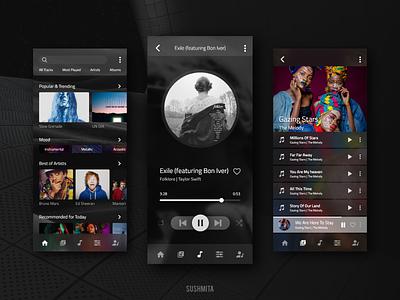 Music Player App adobe xd modern trendy logo music player clean android dark ui mockup mobile app design mobile app mobile ux ui
