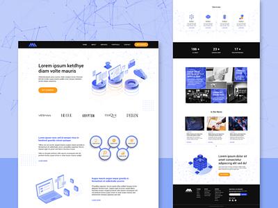 Web Design Concept services isometric illustration digital mockup landing page technology adobe xd web design design typography branding ux ui
