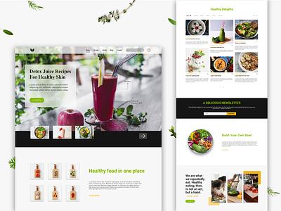 Healthy Recipes Web Design clean user interface landing page web design web adobe xd healthy recipes food ux ui