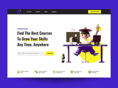 E-Learning Platform Web Design website design prototype visual web web designer clean minimalist education e learning website web design typography design illustration ux ui