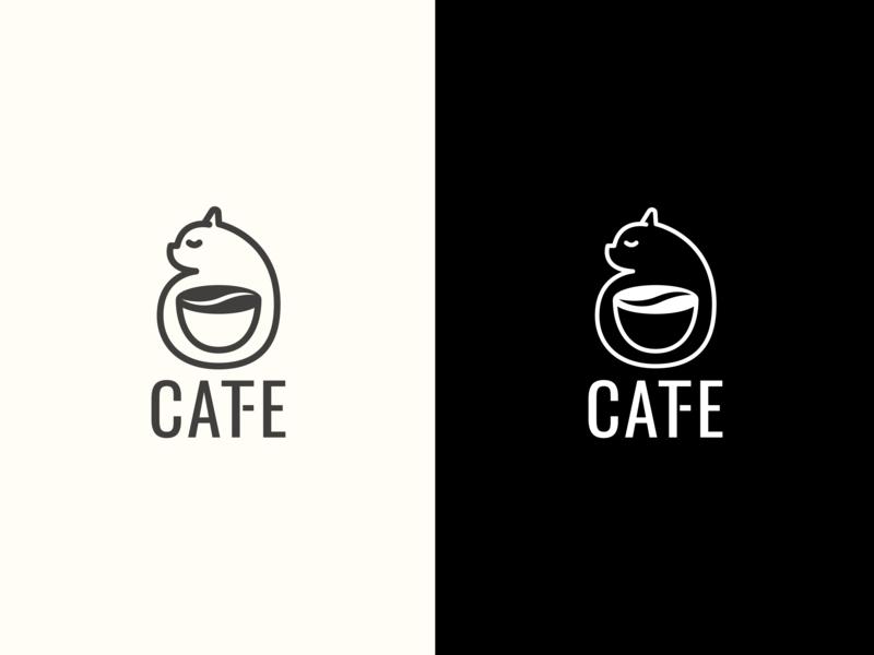 Catfe Logo graphic arts logo design adobe illustrator flat illustration graphic  design design logo vector