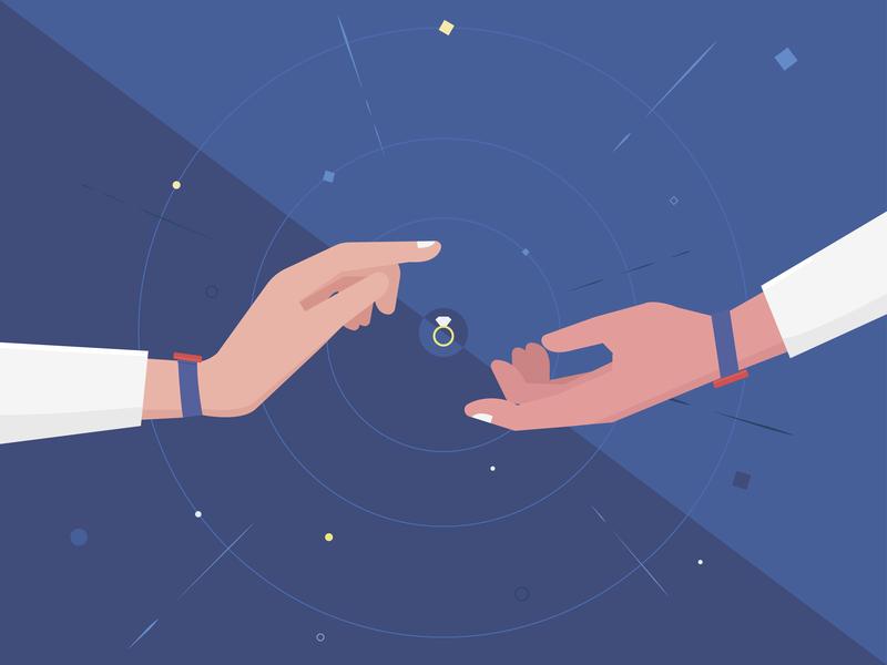 Space Marriage flat design illustration graphic  design vector
