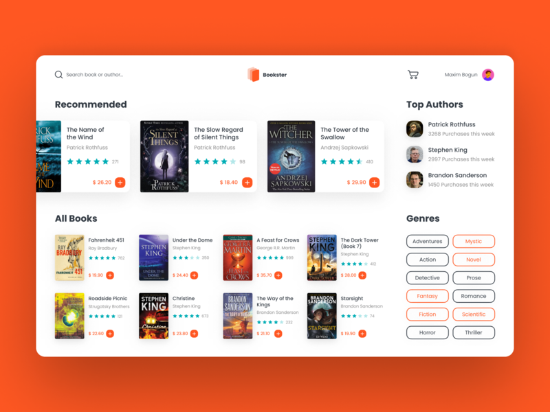 Bookster - Online Bookstore Concept 🧡 logo fantasy design clean library cards shadow smooth ui ux webdesign website concept rating reading bookshop bookstore books book