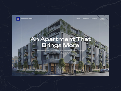 Continental - Residential Housing Website real estate apartment residential housing homepage design homepage website concept web template web ui web design website figma ux design ui design landing page design landing page website design typography ux ui