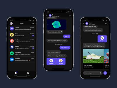 Comet - Interactive Chatbot App (Dark Version) ai chatbot ios app ios app design app design mobile ui ui design figma ux typography ui
