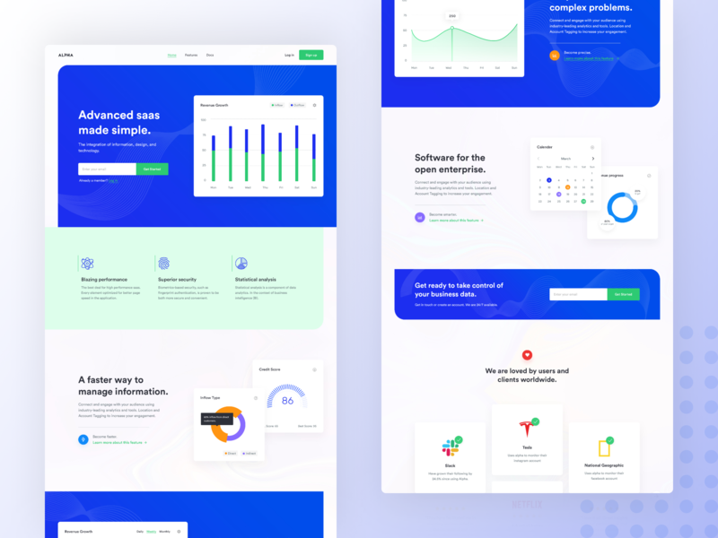SaaS Landing Page Design #1 identity ux animation app minimal vector illustration ui branding typography software development software design saas landing page webapp design landing page design moderndesign 2018 2019 website design landing page