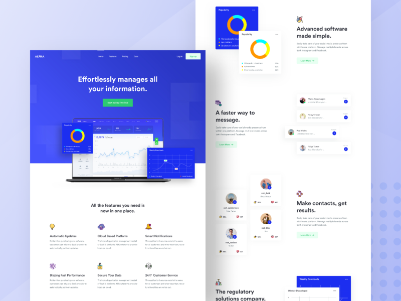 SaaS Landing Page Design #2 landing page website design 2019 2018 moderndesign landing page design webapp design saas landing page software design software development typography branding ui illustration vector minimal app animation ux identity