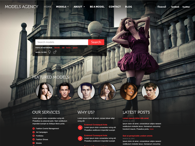 Model Agency Theme website models agency theme modeling web layout