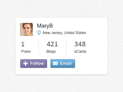 User profile ui web social card profile details