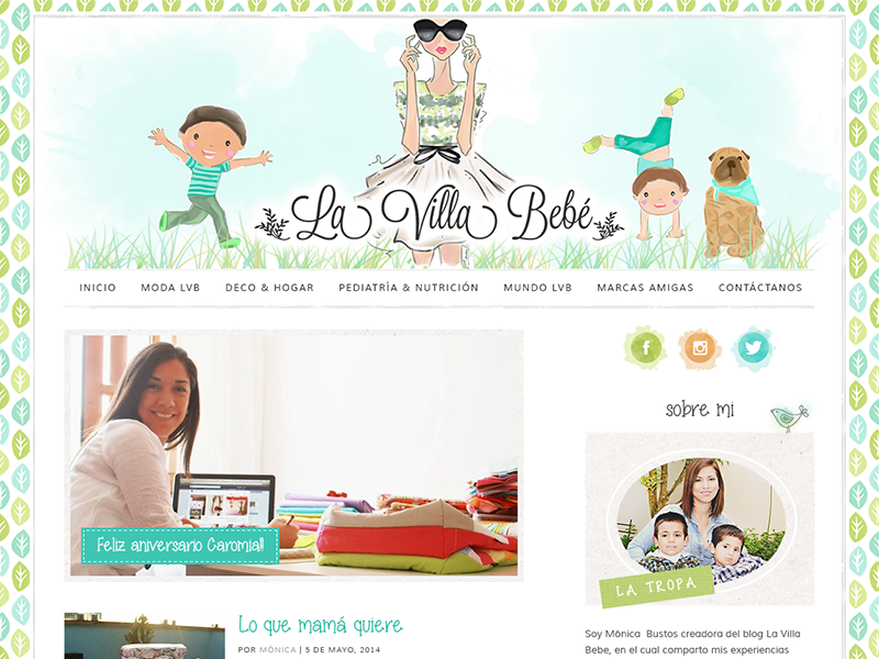 La Villa Bebé blog website web design kids family posts full site watercolor fun wordpress theme peru