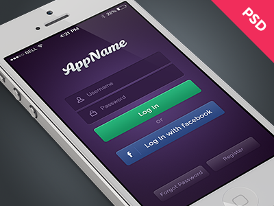 Free Mobile Login PSD login ui interface app iphone ios freebie free psd