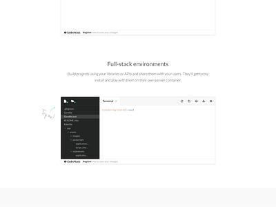 CodePicnic landing page website one page design ui layout flat minimal minimalistic