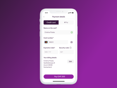 Credit card checkout page