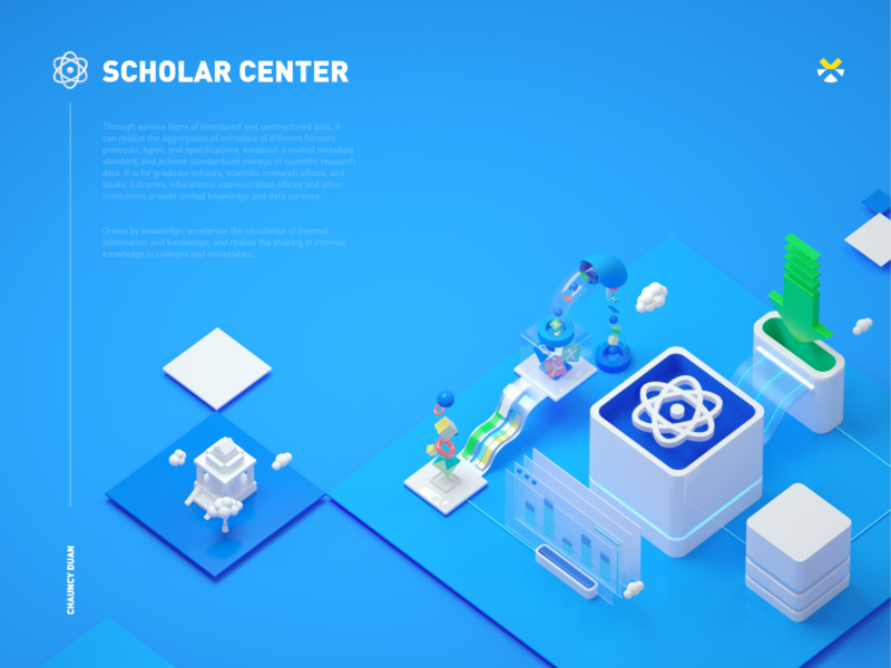 Scholar Center campus library isometric brochure print bigdata design