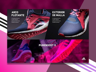 Adidas / Pureboost X train boost running snickers adidas type webside flat animation web app icon ux  ui tipography branding vector ui logo design illustrator