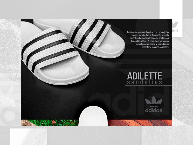 Adidas / Adilette adidas originals mobile ios lettering illustrator ux app boost adidas vector typography type icon illustration web ui logo flat design branding