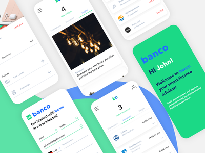 Banco App - Smart finance advisor concept designthinking uiux insights smart transactions insurance app app banking product mobile userinterface design ux ui