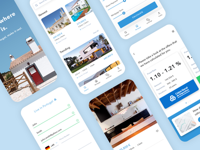 Real Estate and Mortgage App real estate realestate offers prices calculator house buy housing clean design bank finance mortgage app appdesign product mobile userinterface design ux ui