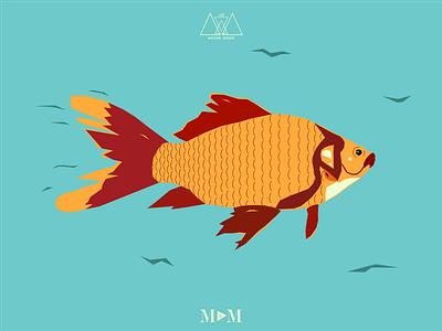 Fish - Nature Series Print 1/3 print water vector texture tail simple river redfish orange ocean fish art