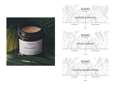 SOHO Soy Candles label illustrations