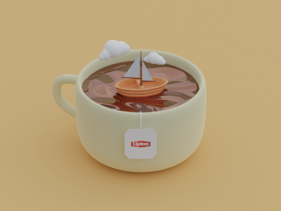 Cup of tea ux design icon art ui illustration illustrator blender 3d
