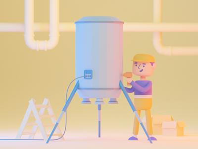 Little factory 3D illustration colorful web design illustrator art icon ux ui illustration 3d