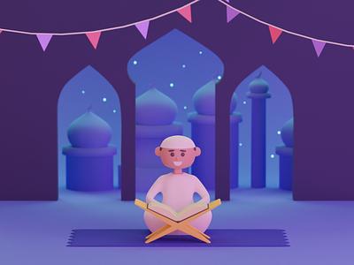 Ramadan minimal animation blendercycles ui design colorful illustrator illustration 3d modeling 3d blender3dart blender3d blender