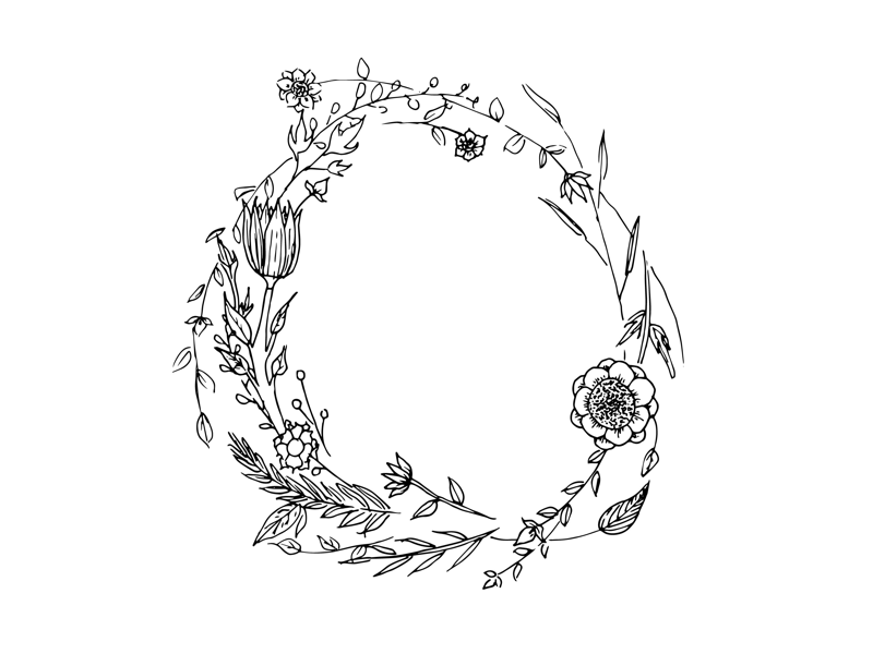 hand drawn wreath for custom invitation by lindsey