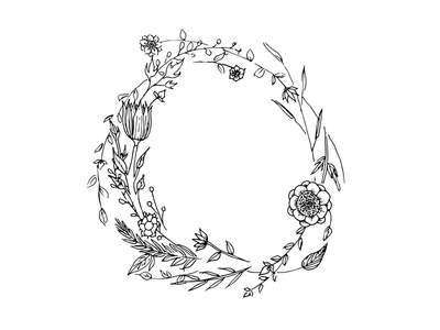 Hand drawn wreath for custom invitation