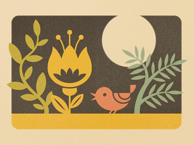 Virtual Garden — Warmup Prompt No. 32 textured photoshop illustrator dribbbleweeklywarmup retro supply vintage mid-century matchbook illustraion design flower bird garden wilderness
