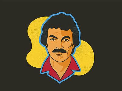 Marvelous Mustaches – #1 Tom Selleck vector illustrator design 80s mustache portrait illustration