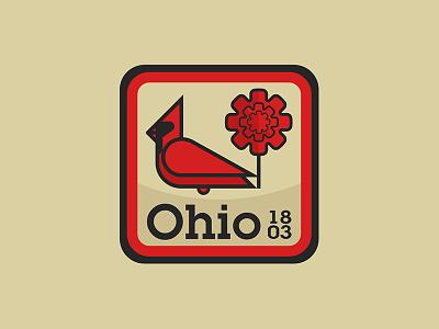 Ohio United 50 badge carnation cardinal patch sticker usa ohio