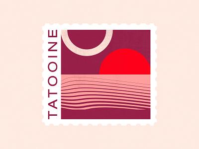 Tatooine Stamp — Dribbble Weekly Warm-Up typography vector art flat badge desert pop culture sci-fi geometric design dribbbleweeklywarmup warmup stamp star wars tatooine