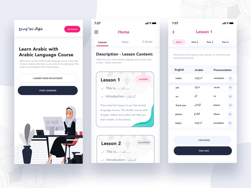 Arabic Learning App app designers android design ios design mobile app design course app learning app app app design design website modern creative interface master creationz