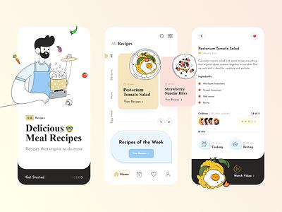 Cooking and Recipe App app ui uiux recipe app cooking app latest trend modern design creative design mobile app design agency app design 2020 2020 design 2020 trends