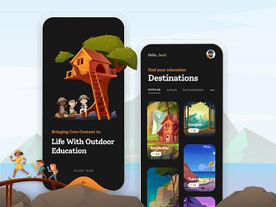 Outdoor Education App Design creative agency india mastercreationz mobile ui mobile app design app design outdoor advertising educational learning app education app outdoor outdoors