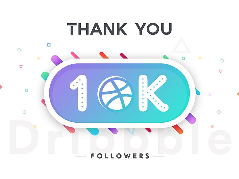 10k Followers ui tropical thanks social shot illustration followers dribbble colors button 10k 10000