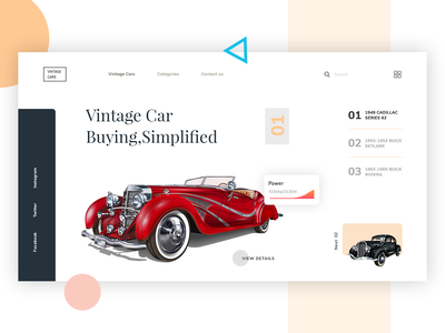 Vintage Car classic design classic car header illustration header graphic ecommerce car lover vintage car dribbble product landing page website modern creative interface design master creationz